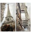 Set 2 cuadros lienzos madera París 60x120 cm