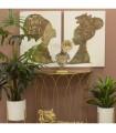 Set 2 cuadros madera africanas oro