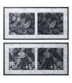 Conjunto de 2 quadros madeira de folhas de prata