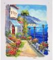 """Mediterranean village """"P. Brosson"""" 4 - Oil on canvas"""