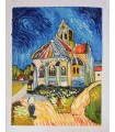 """O óleo da igreja sobre tela com a assinatura única """"Gillian""""."""