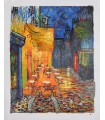 """Terrace cafe in the evening - Oil on canvas signed """"Gillian""""."""