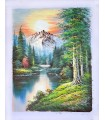 """Classical landscape """"Robins"""" - Oil on canvas"""