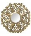 Espejo redondo madera 90 cm dorado, Interior ›30 cm