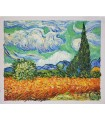 Wheat field with cypresses - Oil on canvas