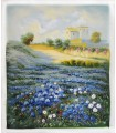 """Countryside with blue flowers """"P. Brosson"""" - Oil on canvas"""